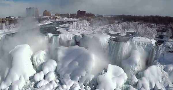 NBC Exclusive Drone Footage Captures Frozen Niagara Falls