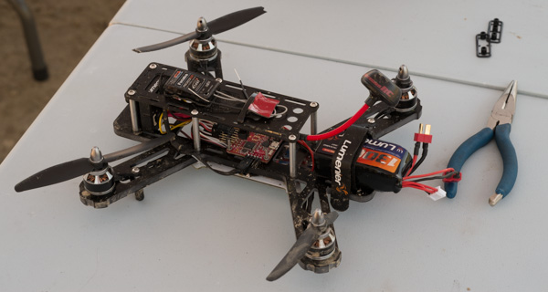 A multirotor racer, post crash