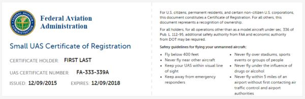 Small UAS Certificate of Registration
