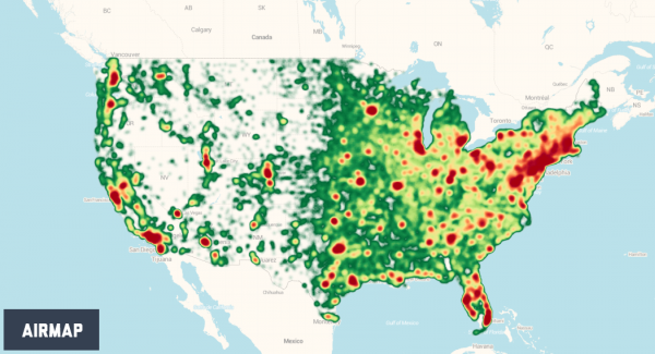Heatmap of hobbyist UAS registrations, courtesy AirMap