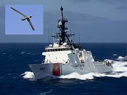 USCG NSC flying ScanEagle drones